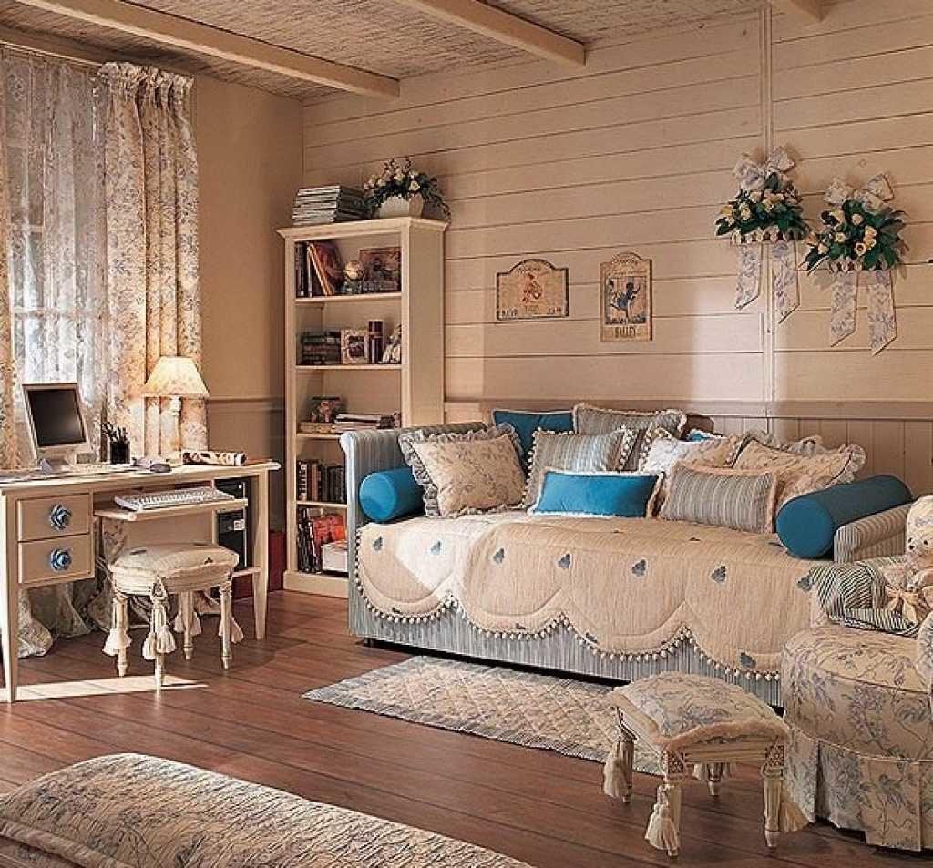 Интерьер в стиле прованс с использованием большого количества текстиля