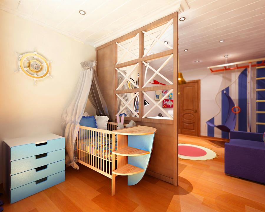 Зонирование пространства в детской комнате морского стиля
