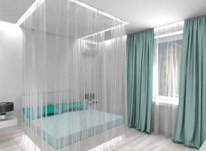 Использование кисеи в спальне