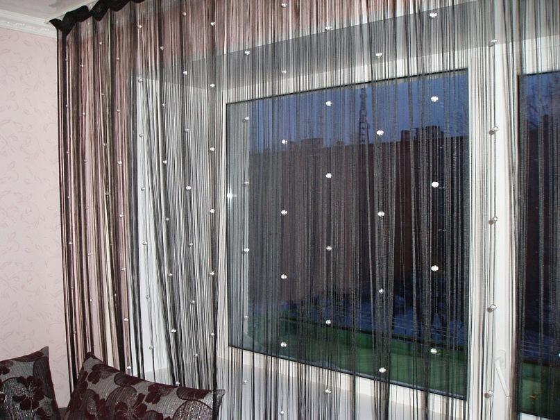 Сочетание штор-нитей и текстиля
