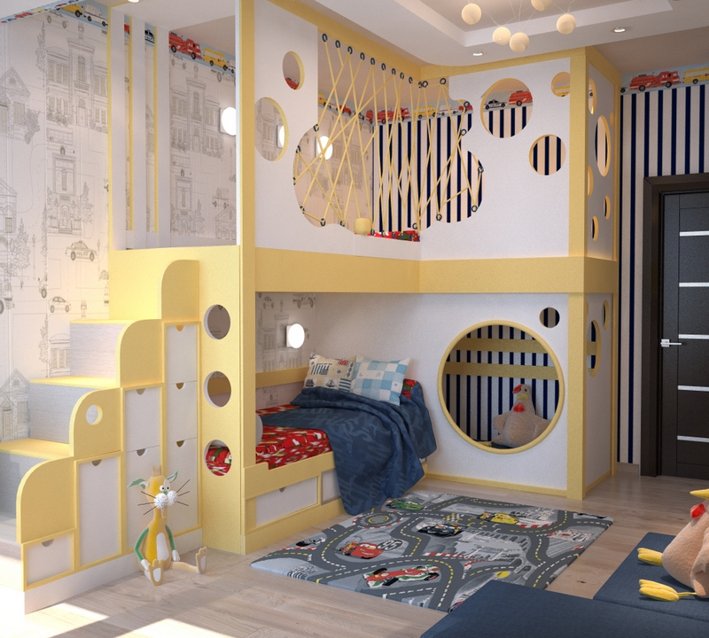 Детская комната для двух мальчиков с двухъярусной мебелью
