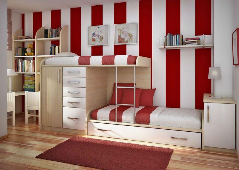 Интерьер детской в красно-белых тонах