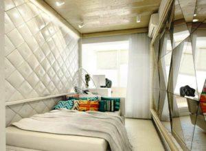 Дизайн узкой спальни в белом цвете