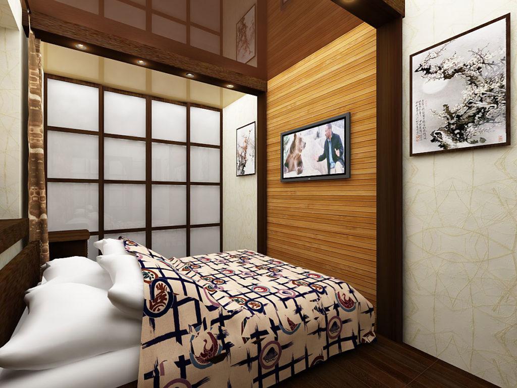 Дизайн узкой спальни в японском стиле