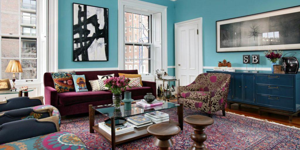 Интерьер в стиле эклектика с восточным ковром