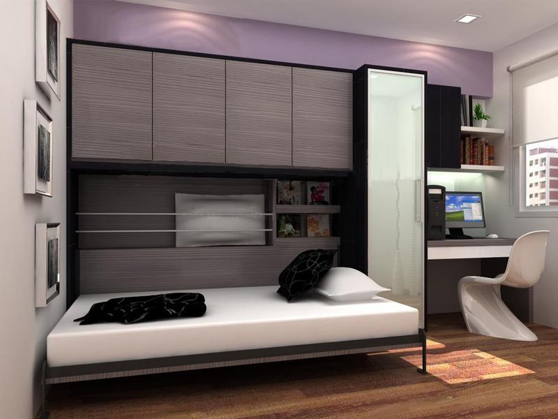 Кровать-трансформер в узкой спальне