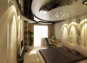 Освещение как декор узкой спальни