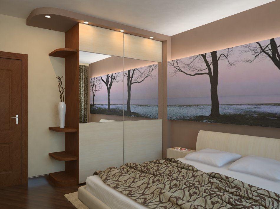 Шкаф в узкой спальне
