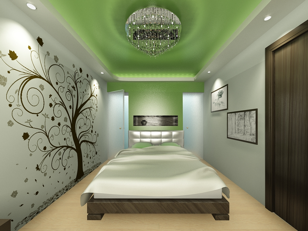 Узкая спальня в стиле авангард