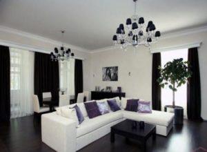 Оригинальное чередование белого и чёрного в гостиной