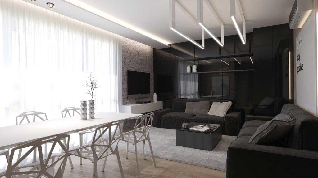Чёрно-белая гостиная с необычными светильниками