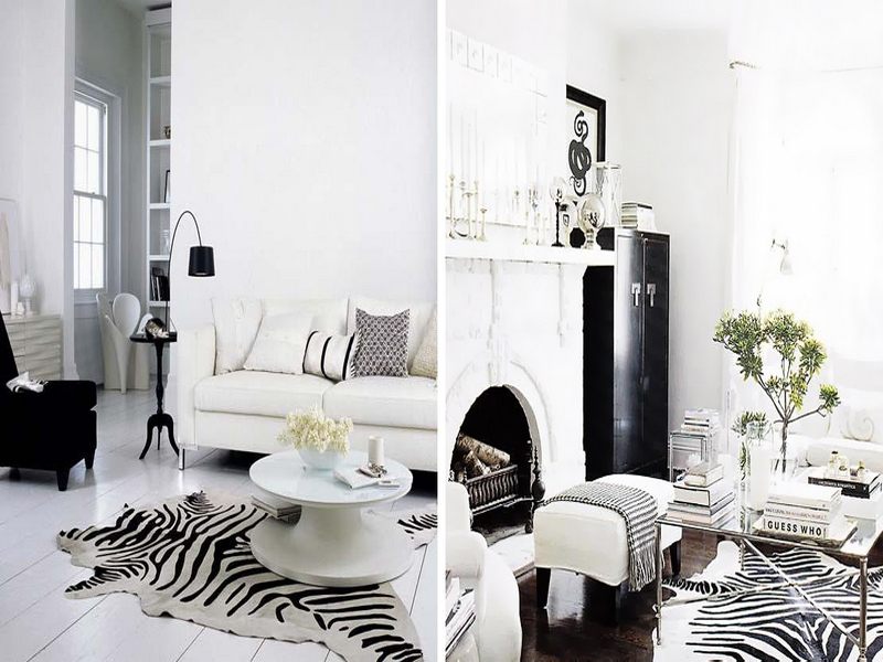 Чёрно-белая гостиная со шкурой зебры