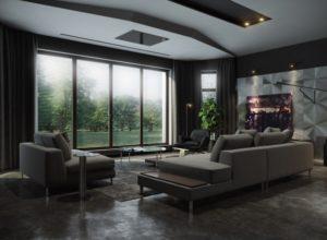 Чёрная гостиная со светлыми диваном и креслом