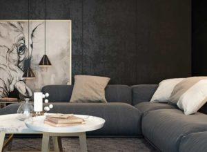 Чёрная гостиная и светлый текстиль
