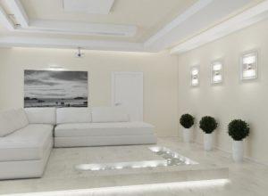 Практически белая гостиная