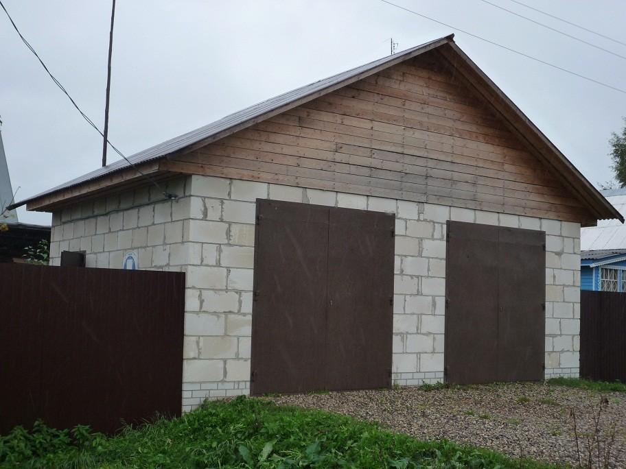 Двухскатная крыша гаража из пеноблоков