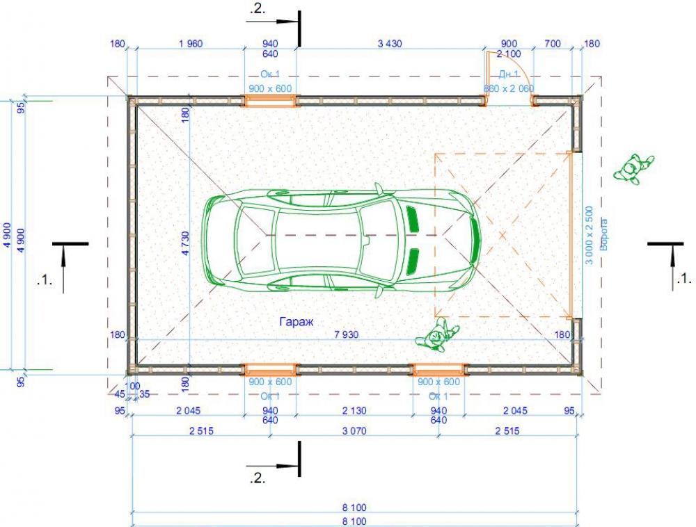 Схематическое изображение гаража