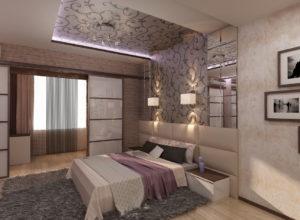 Уникальный дизайн спальни с гардеробной