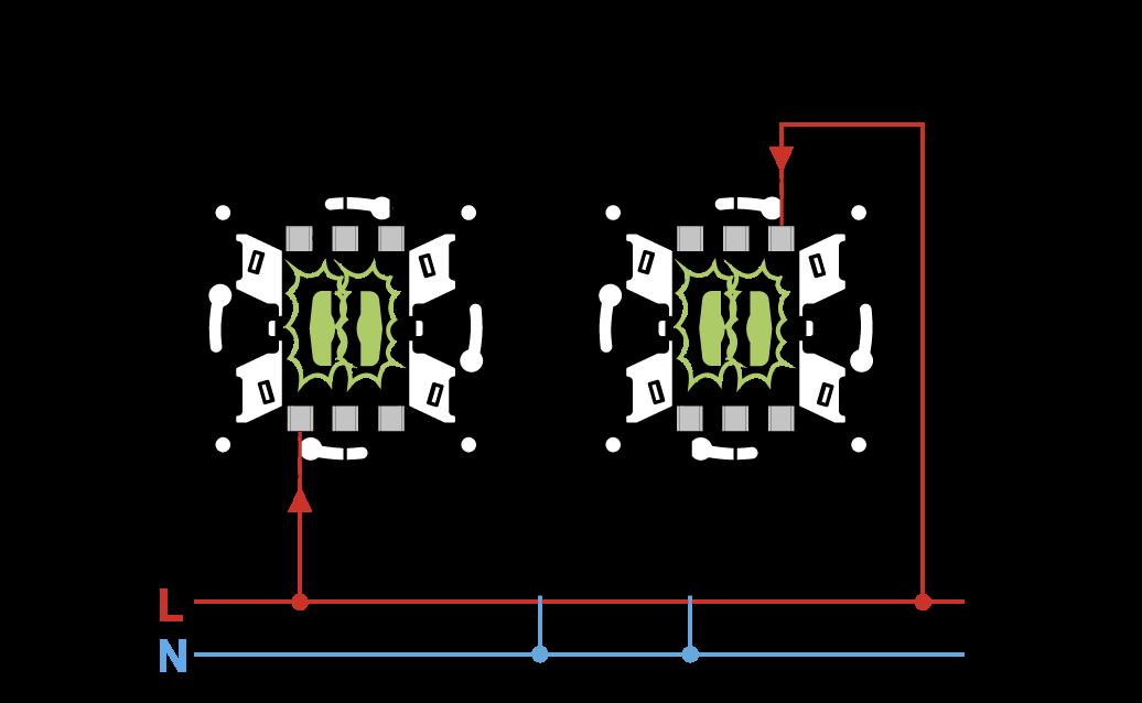 Проходных двухклавишных переключателей с трех схема