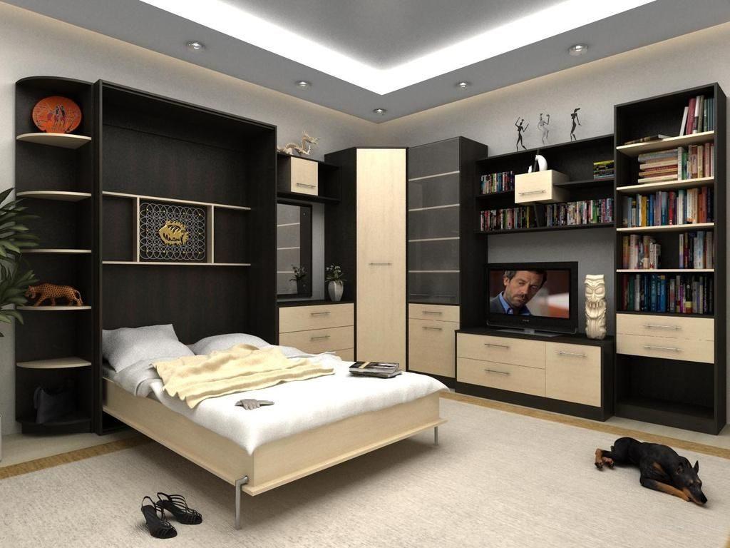 Откидная кровать в небольшой спальне