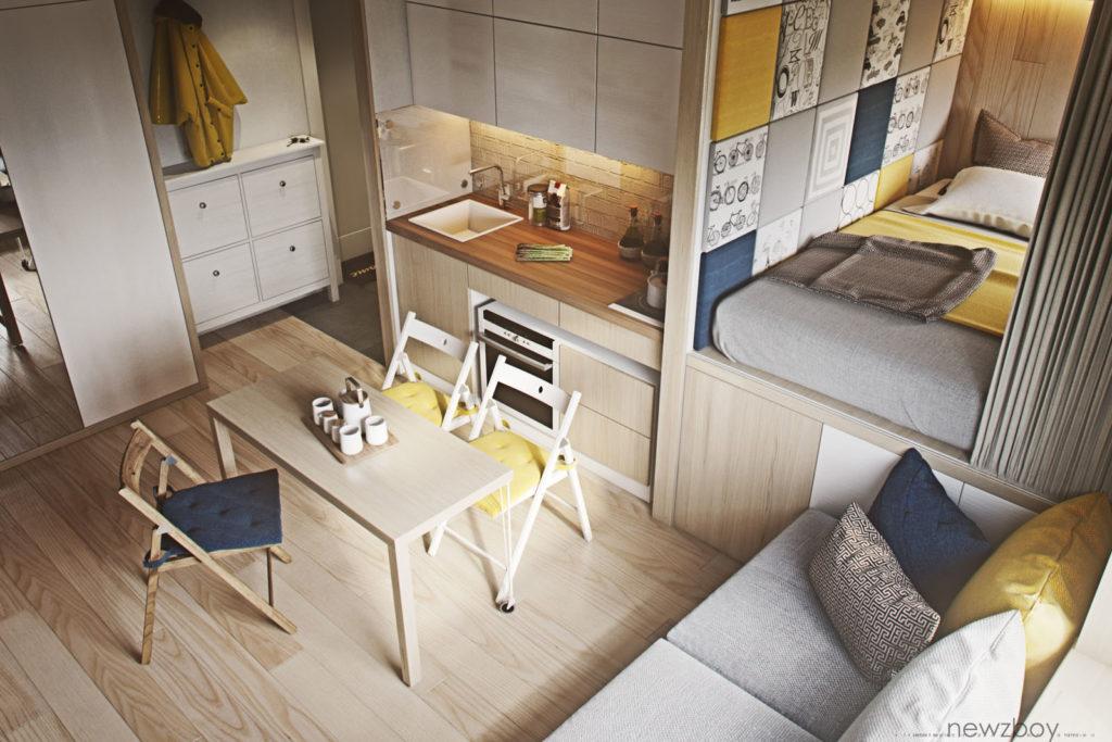 Кухня и гостиная в небольшой квартире